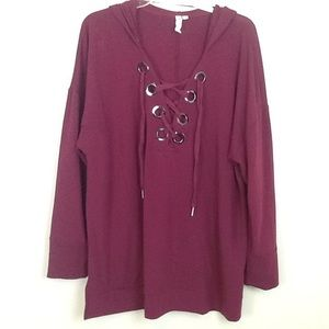 Cable and gauge woman mauve long top in 1X